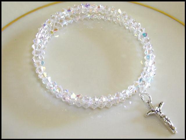 Sterling CRUCIFIX SWAROVSKI CLEAR AB 3 Strand Crystal Wrap Bracelet