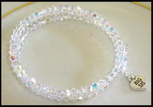 Sterling BIG SIS SWAROVSKI CLEAR AB 3 Strand Crystal Wrap Bracelet