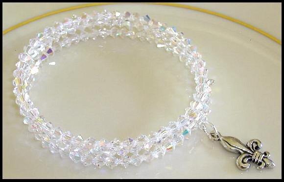 Fleur de Lis SWAROVSKI CLEAR AB 3 Strand Crystal Wrap Bracelet