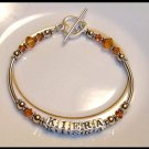 MOTHERS GIFT - BIRTHSTONE One Name Mothers Name Bracelet Sterling Tube & Swarovski Crystal