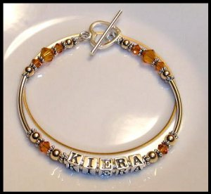 MOTHERS GIFT - BIRTHSTONE One Name Mothers Name Bracelet Sterling Tube & Swarovski Crystal