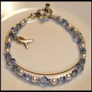 CUSTOM Cancer Awareness Bracelet with Swarovski Crystal & Sterling Silver