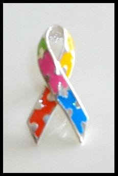 Autism Awareness Puzzle Ribbon Pin 100% Sterling Silver