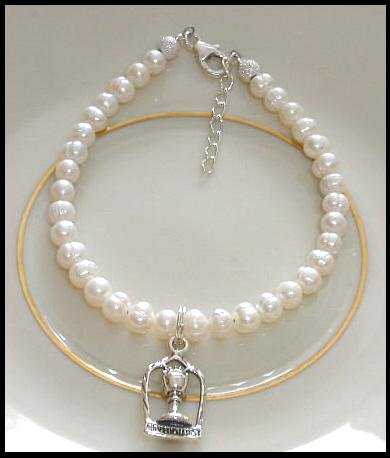 1st First Communion Gift Bracelet w/ Chalice ~ Sterling Silver, White Freshwater Pearls