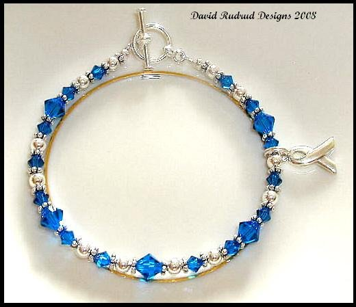 Colon Cancer Awareness Bracelet Swarovski Crystal Sterling Silver Symptom