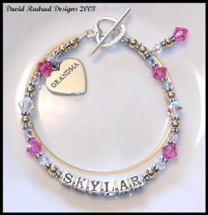 BIRTHSTONE One Name Grandmother Grandma Baby Name Bracelet Sterling Silver & Swarovski Crystal