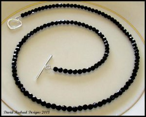 SWAROVSKI Round 18 Inch JET BLACK Crystal Necklace Sterling Silver