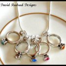 MOTHERS GIFT - 6 Baby Ring Birthstone Necklace Sterling Silver Jewelry
