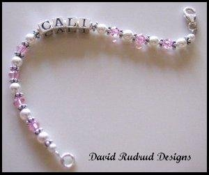 Baby Child Girls NAME BRACELET Swarovski Crystal Sterling Silver