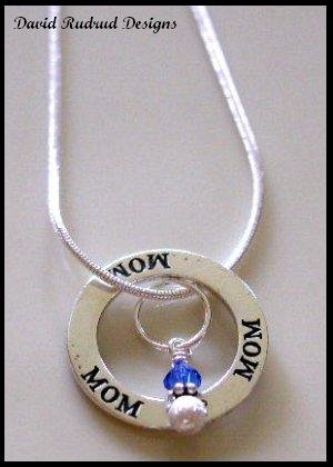 Mom Mothers Birthstone Affirmation Necklace Sterling Silver GIFT Jewelry
