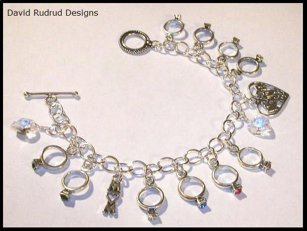 Mothers Grandmothers Birthstone Ring Custom Charm Bracelet