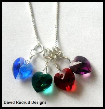 """BIRTHSTONE 4 Heart Mom Mothers Necklace 18"""" Sterling Silver"""