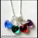 "BIRTHSTONE 4 Heart Mom Mothers Necklace 18"" Sterling Silver"