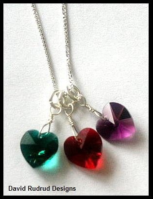 "BIRTHSTONE 3 Heart Mom Mothers 18"" Necklace Sterling Silver"