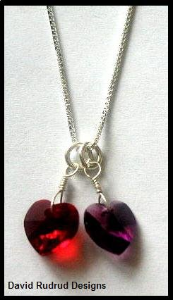 "BIRTHSTONE 2 Heart Mom Mothers 18"" Necklace Sterling Silver"