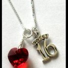 BIRTHSTONE Sweet 16 16th Birthday Necklace Sterling Silver