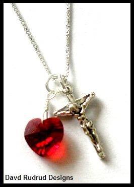 1st Communion BIRTHSTONE CRUCIFIX Necklace Sterling Silver Swarovski
