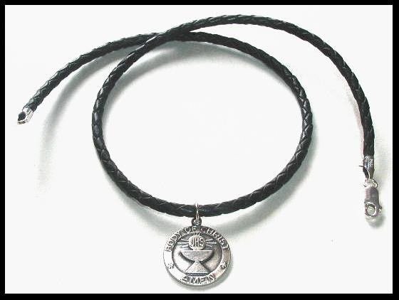 Guys 16 Braided Black Leather 1st Communion Necklace Gift Boys