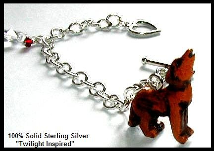Bella's Twilight Charm Bracelet Wood Wolf Twilight Jewelry