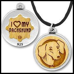 Dachshund Dog Breed Charm Necklace 18 In. Leather Sterling Silver Wood