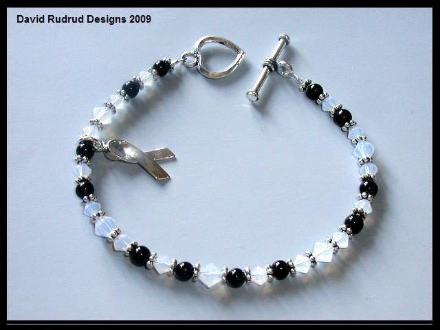 Carcinoid Cancer Awareness Bracelet Sterling Silver Onyx and Swarovski