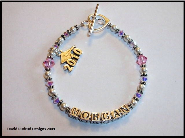 2011 Senior Grad Gift Jewelry Name Bracelet Swarovski Crystal & Pearl Graduation
