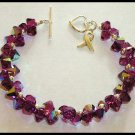 PANCREATIC CANCER Awareness Bracelet Sterling & Swarovski Crystal