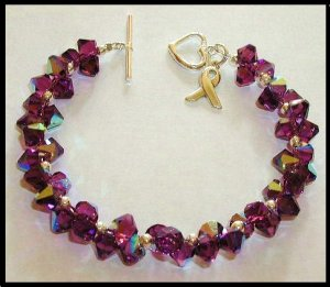 PANCREATIC CANCER Awareness Bracelet Sterling & Swarovski Crystal