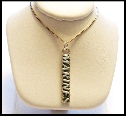 Marine Corps 18 Inch Necklace Sterling Silver Marines