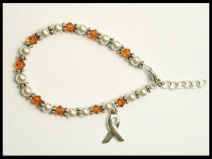 Kids size - Childhood Cancer Awareness Bracelet Swarovski Crystal and Pearl
