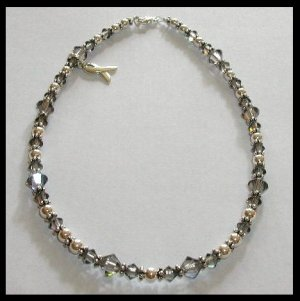 BRAIN Cancer Awareness Ankle Bracelet Anklet with Swarovski Crystal