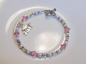 Personalized COLON Cancer Awareness Bracelet w/ Swarovski Crystal & Sterling