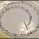 Elegant SWAROVSKI 20 Inch Crystal AB Necklace Round 20 Inch - 8mm  = Sterling Silver