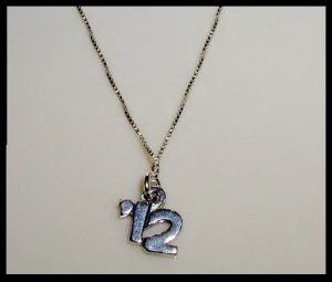 "2012 Senior Graduation School Necklace - 18"" Solid Sterling Silver"