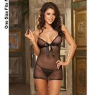 (9) Lycra net babydoll w/rhinestones and satin bow detail, thong &