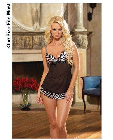 (10) Lycra net babydoll w/zebra print satin trim and thong black o/