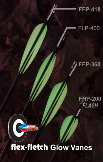 FLP-400 12 pack Glow Vanes-Flex-Fletch archery, vanes, hunting, arrows, target, fletchings