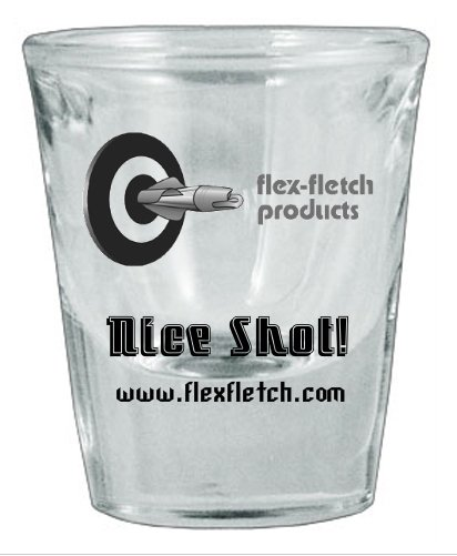 Shot Glass, Nice Shot! Flex-Fletch logo shot glass