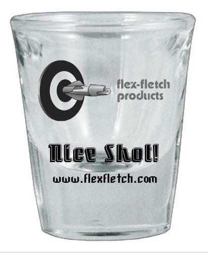 Set of 4 Shot Glasses, Nice Shot! Flex-Fletch logo shot glass