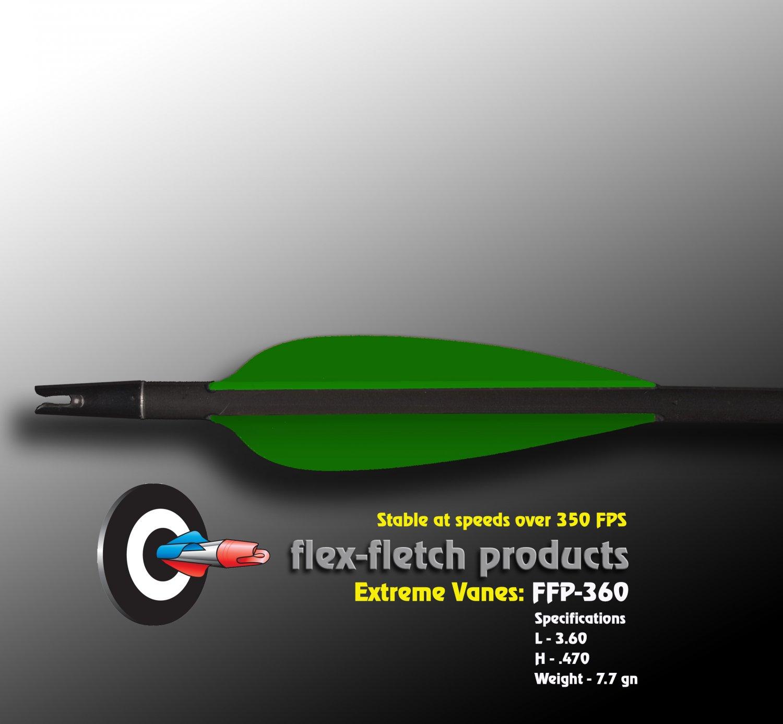 Extreme Vanes-Flo Green FFP 360X Flex-Fletch archery, vanes, hunting, arrows, target, fletching