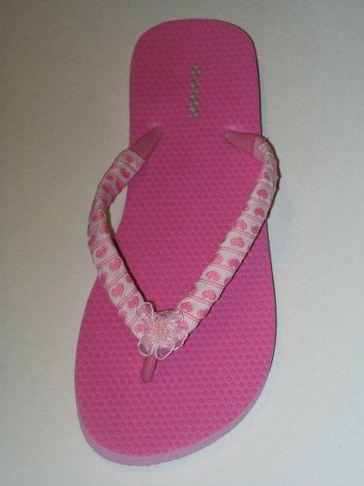 Women's Pink Heart Ribbon Wrapped Flip Flops