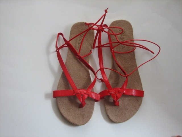 Women's Red Wrap Up Sandals Size 9-10 (Large)