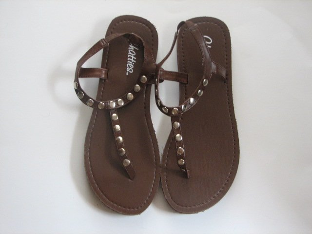 Women's Brown T-Strap Sandals w/ Studs Size 9-10 (Large)
