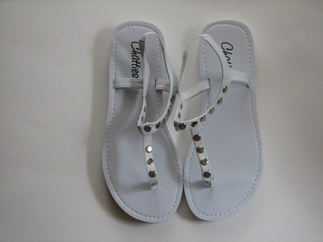 Women's White T-Strap Sandals w/ Studs Size 9-10 (Large)