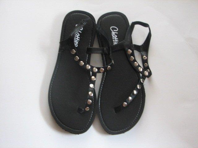 Women's Black T-Strap Sandals w/ Studs Size 9-10 (Large)