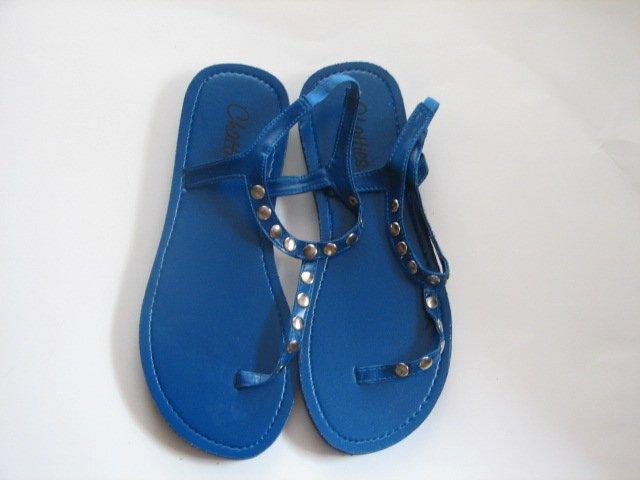 Women's Blue T-Strap Sandals w/ Studs Size 5-6 (Small)