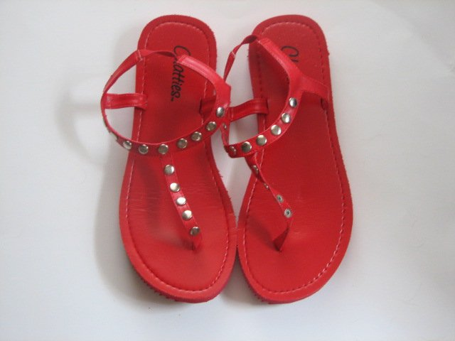 Women's Red T-Strap Sandals w/ Studs Size 9-10 (Large)