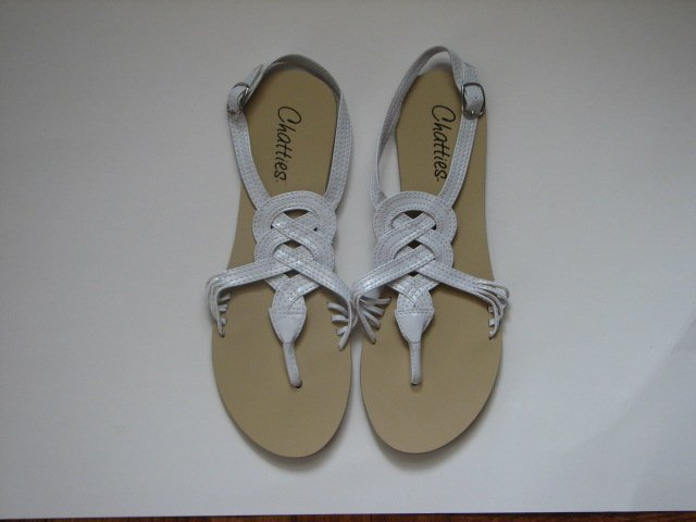Women's White Gladiator Sandals Size 5/6 (Small)