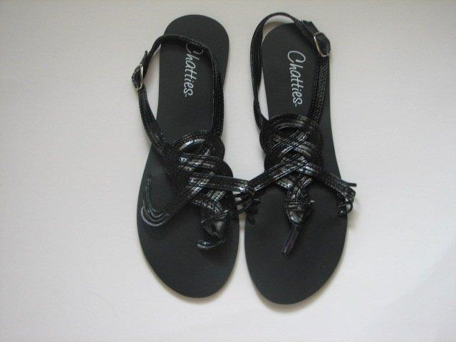 Women's Black Gladiator Sandals Size 9/10 (Large)