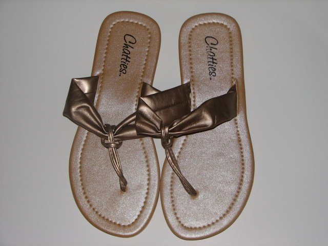 Women's Champagne T-Strap Sandals Small (5-6)
